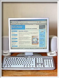 Computer monitor showing Build a Website